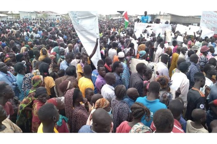 Ongoing demonstration in Malakal in response to the recent decision that Malakal becomes a municipality, Makal named a county in Upper Nile state