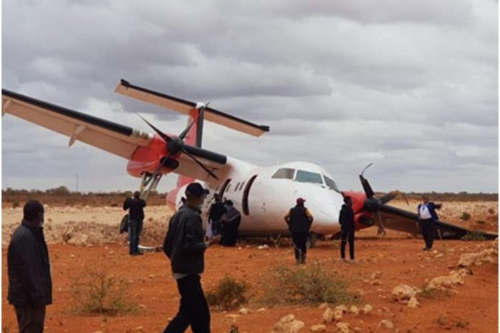 A skyward plane with 30 people on board crashes into a Somali military installation.