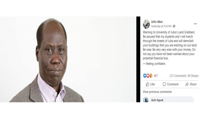 """""""My students and I will march through Juba's streets and destroy the structures you are constructing on our property""""-VC, Juba University warns"""